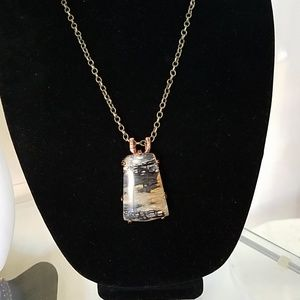 Picasso Jasper Stone wire wrapped in Copper settin